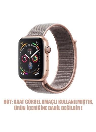 Microsonic Apple Watch Series 5 40mm Hasırlı Kordon Woven Sport Loop Pink Sand Altın